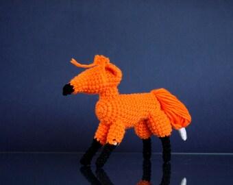 Crocheted Yellow Fox , Animal Amigurumi Toy, Crocheted Fox, Waldorf inspired, Red Fox, crochet animal toy, fox baby shower gift, orange fox