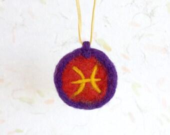 Felt Necklace of Pisces Zodiac Symbol, March Zodiac pendant, Horoscope ornament, round pendant astronomy jewelry, mystic charm, spirit decor