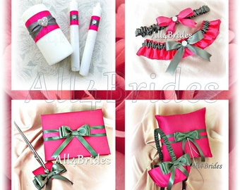 Wedding hot pink and gray ring pillow, flower girl basket, guest book and wedding ceremony unity candle set