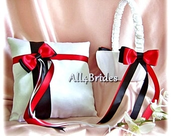 Weddings Red and Black Flower Girl Basket and Ring Bearer Pillow, ring cushion and basket set.