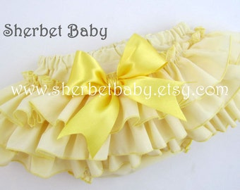 Yellow Classic Style Sassy Pants Ruffle Diaper Cover Bloomers