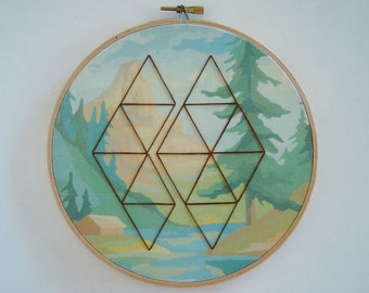 Embroidered Geometric on Mountain Paint by Number Fabric Hoop