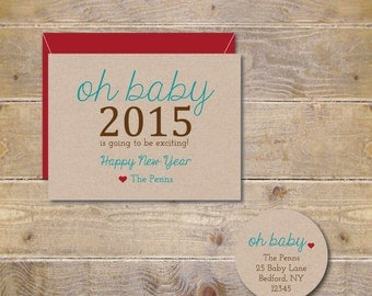 New Year's Cards . Baby Announcent . Expecting Baby Cards . Pregnancy Announcement - Oh Baby