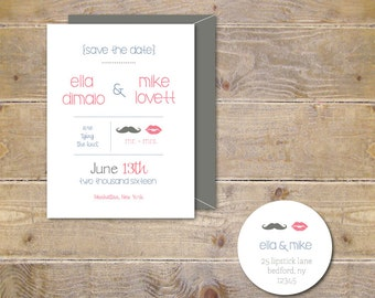 Wedding Save The Dates . Save The Dates . Lips and Mustache Save The Date Cards  - Lips & Mustache