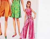 1960s One Piece Jumpsuit Pattern Misses size 14 UNCUT Palazzo Pants Pattern in three Lengths Vintage Sewing Patterns