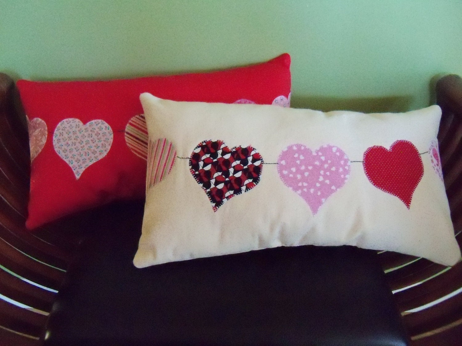 Decorative Valentine Pillows : Valentine Heart Decorative Pillows Handmade Set Heart Pillows