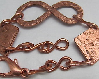 Copper Bracelet, Arthritis Bracelet, Infinity Link Bracelet. Wire Bracelet. Handcrafted Beads and links.