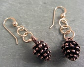 Pine Cone Earrings Gold-Filled and Pewter