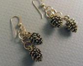 Golden Pine Cone Forest Earrings