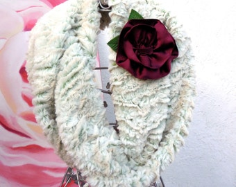 FALL Collection.....NEW WARM & Cozy Infinity Double Loop Creme/Beige  Color with flower.......
