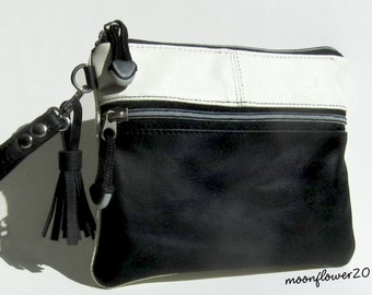 Black and Cream Leather Clutch - Wristlet With Removable Strap, Tassel and Extra Front Zipper Pocket for iPhone - Cell Phone Case