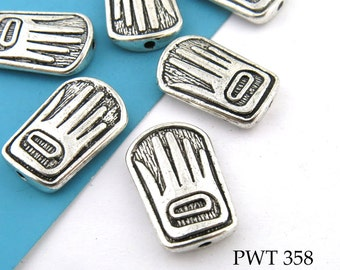 Pewter Hand Bead, 12 x 18mm, Rectangle Hand Bead, Hand with Circle (PWT 358) 6 pcs BlueEchoBeads