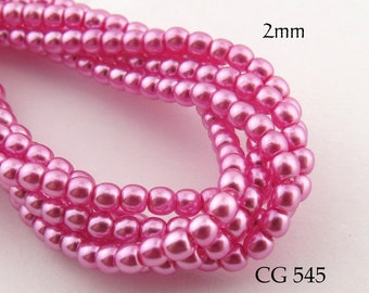 2mm Czech Glass Pearls Hot Pink Round (CG 545) 50pcs BlueEchoBeads