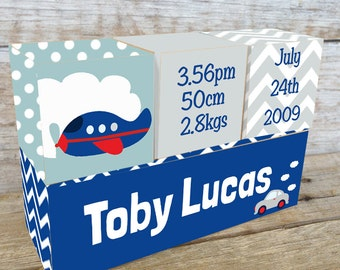 Personalized Wooden Name Birth Blocks Custom Made Transport Design