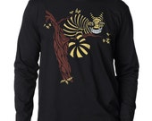 Mens T-shirt Cheshire Cat t-shirt, Men's Long Sleeve Black T-shirt, Gift for Him