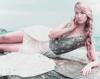 Alana, Mermaid Inspired, Silver Hi Low Dress