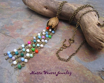 Tulip Multi Color Tassel Necklace, Free Shipping, Christmas, Birthday, Anniversary Gift