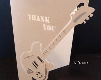 Guitar  Card - Over the Edge Papercut Design 1218