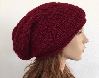 Hand knit woman winter slouchy hat wool hat burgundy wine beret-ready to ship