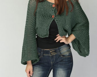 Hand Knit cardigan Fall green Kimono sleeve shrug/ little cardigan