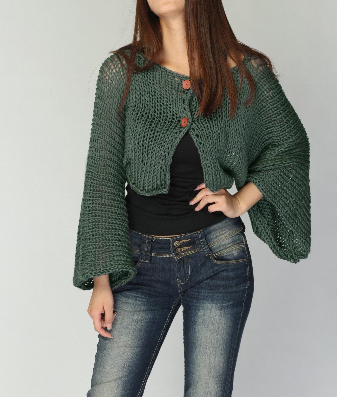 Hand Knit cardigan Fall green Kimono sleeve shrug/ little