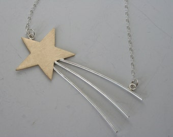 Ready to Ship, Shooting Star Necklace, Gold Star Necklace, Star Jewelry,  Shooting Star Jewelry, Silver and Gold Jewelry, Handmade Necklace