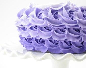 "Fake Rosette Ombre Cake Lilac, Lavender & Purple Frosting Approx. 8.25""w x 4.25""h Smash Cake Prop, First Birthday"