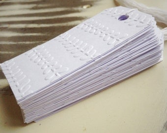 Foliage White Gift Tags x 12 Choose Your Ties - Bakers Twine or Plain White