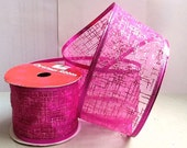 Wired Edge Sheer Organza Ribbon 500.03 - Fuchsia Pink with Glitter Lines - 3 Yards