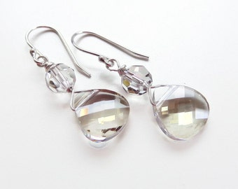 Silver Shade Crystal Briolette Earrings - Bridesmaid Jewelry - Weddings - Bridal - designed with SWAROVSKI® Crystals