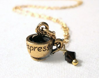 Cup of Espresso Charm Necklace - Coffee Cup Charm on 14K Gold fill