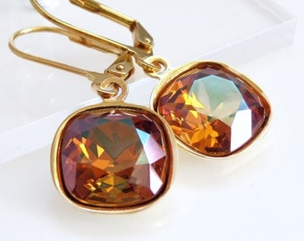 Crystal Copper Earrings - Copper Crystal - created with SWAROVSKI® Crystals