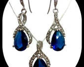 Sapphire Blue Jewelry Set, Something Blue, Swarovski Crystal Bridal Earrings, Dangle Necklace, TWIRL