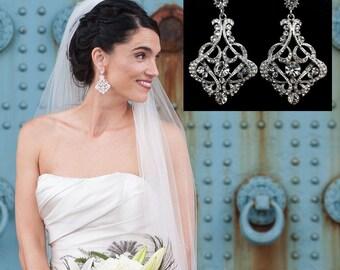 Statement Bridal Earrings, Art Deco Wedding Earrings, Gatsby Earrings, Geometric Earrings, Swarovski Crystal Victorian Bridal Jewelry KARMEN