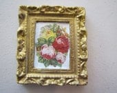 Dollhouse miniature picture of flowers decoupage