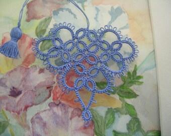 Valentine Tatting Blueberry Blue Heart Bookmark Seasoned With Love