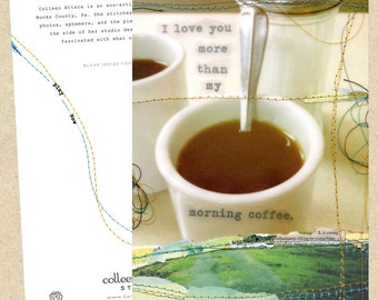 Mixed media collage card-Morning Coffee
