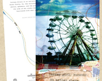 Mixed media collage card-Ferris Wheel (Jersey Girl)