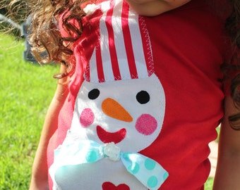 GIRLS Jolly SNOWMAN Christmas Holiday TEE Sizes 6 Months to 8