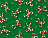 Believe Candy Canes - Henry Glass - Fabric By The Yard Cotton Woven
