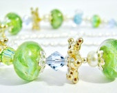 Green Blue Lampwork Glass Necklace or Bracelet, Sterling Silver Necklace, Luxe Gift For Her, Ready To Ship