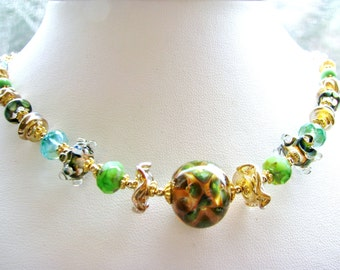 25% OFF SALE Handcrafted Artisan OOAK Stunning Green Lampwork Necklace, Gold Vermeil, 14k Gold Filled Necklace, Luxe Gift For Her