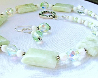 VALENTINES SALE, Peace Jade Necklace & Earrings, Natural Green Stone Necklace, Fancy Sterling Silver 2 Pc Jewelry Gift Set, Ready To Ship