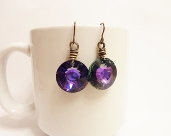 Royal Purple Swarovski Sun Ray Earrings
