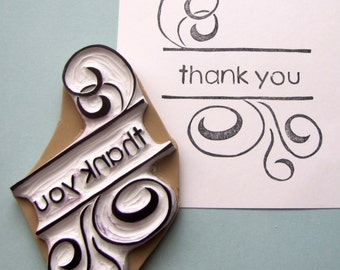 Swirly thank you rubber stamp sentiments gratitude stamp
