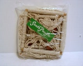 Vintage South Pacific Hawaii Macrame & Beads Double Hanging Plant Holder Basket MIB Mod Hippie