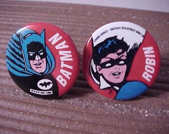 SALE Batman and Robin Cuff Links Vintage Pinbacks - Free Shipping to USA