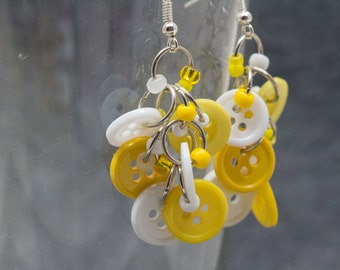 Button Dangle Earrings / Yellow and White Beaded Jewelry / Simple Fun Piece by randomcreative on Etsy