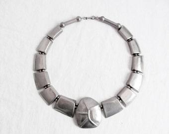 Stunning Silver Statement Necklace Bold Geometric  Biomorphic Metal