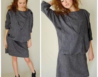 Baggy Sack Dress Vintage 80s Charcoal Textured Urban Boho Baggy Oversized Sack Dress (m l)